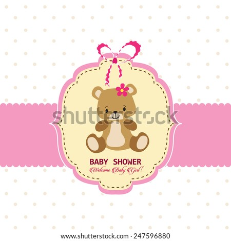 Baby shower greeting card template - stock vector