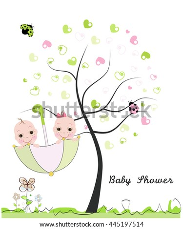 Baby Shower Greeting Card. Twin Baby. Made Of Heart Tree. Doodle Flowers,