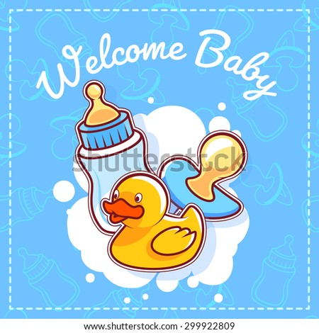 baby shower greeting card welcome baby template baby shower card for boy in blue