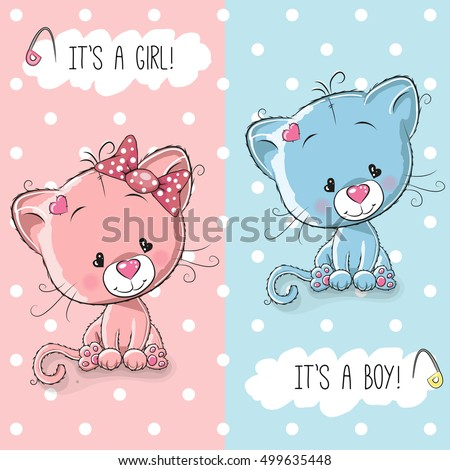 baby shower greeting card with cute kittens boy and girl