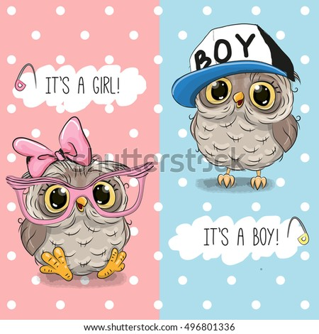 baby shower greeting card with owls boy and girl