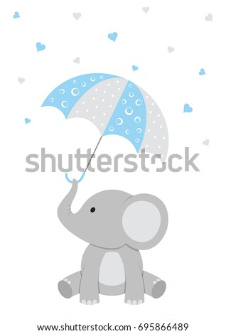 Baby Shower Illustration Of A Baby Elephant With A Blue Umbrella And  Falling Hearts.