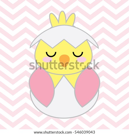 Baby shower illustration with cute pink baby chick on chevron background suitable for Baby shower's greeting card, postcard, and nursery wall