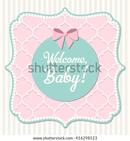 Baby Shower In Shabby Chic Style Pink Frame With Vintage Net Texture On Beige Striped