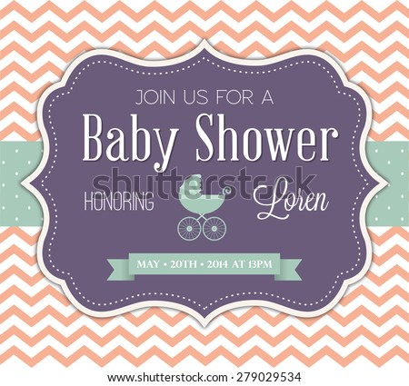 baby shower invitation stock vector