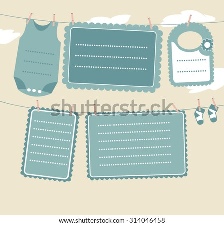 childish scrapbook labels doodle frames stock vector