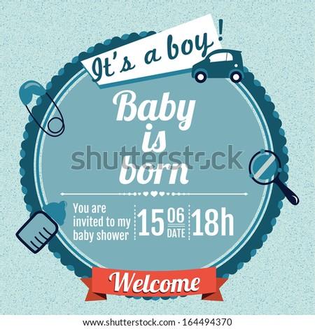 Baby shower invitation-baby boy - stock vector