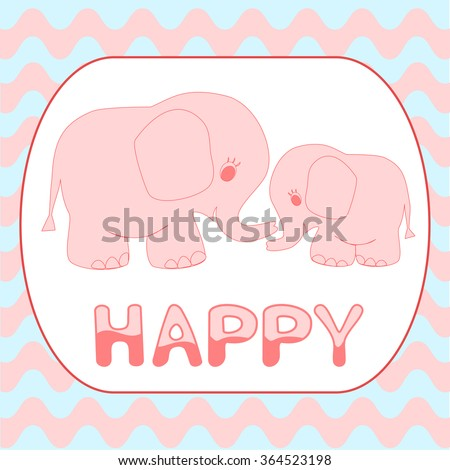 Baby shower invitation card Cartoon pink baby elephant card template Mother and baby animals on Wavy stripes background for nursery room decor, poster, greeting card, t-shirt prints, wallpaper - stock vector