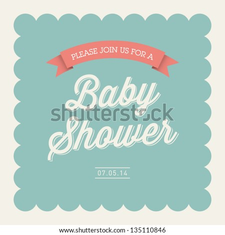 Baby shower invitation card editable type stock vector 135110846 baby shower invitation card editable with type font ribbon frame border vintage filmwisefo