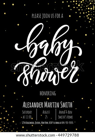 Baby Shower invitation card template. Classic white calligraphy vector lettering. Black background with gold glitter polka dot decoration. - stock vector