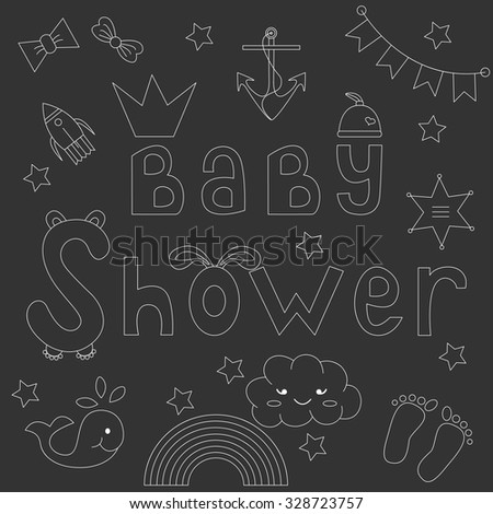 Baby shower invitation card.Vector illustration of style chalk on a blackboard.