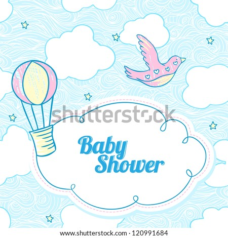 Baby shower invitation card with copy space - stock vector