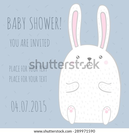 Baby shower invitation card with cute bunny. Vector illustration - stock vector