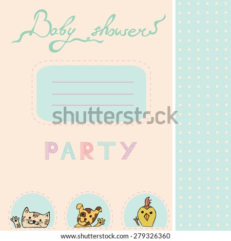 Baby shower invitation card with dog, duckling, kitten