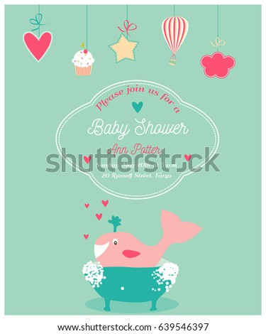Baby shower invitation card with happy whale in bath