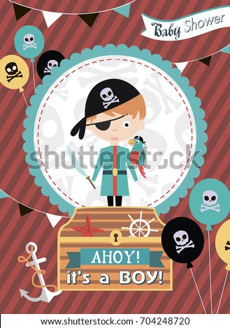 Baby shower invitation card pirate theme stock vector 704248720 baby shower invitation card with pirate theme vector illustration stopboris