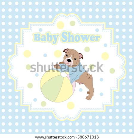 Baby shower invitation card puppy ball stock vector 580671313 baby shower invitation card with puppy and ball filmwisefo Image collections