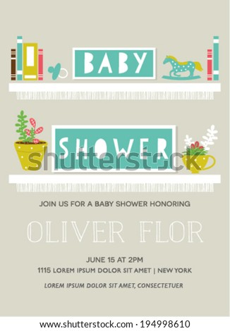 Baby Shower Invitation Card with Shelve Design - stock vector