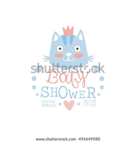 Baby Shower Invitation Design Template Cat Stock Vector 496649080 ...