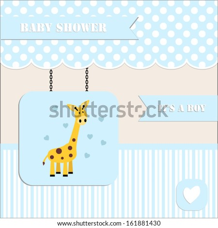baby shower invitation, for baby boy  polka dot and stripe background with giraffe.Vector eps10,illustration.Raster also available.