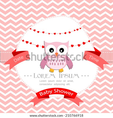 baby shower invitation for girl.Pink chevron background with owl.Vector eps10,illustration.  - stock vector