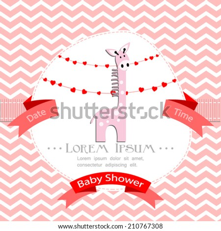 baby shower invitation for girl.Pink chevron background with pink giraffe.Vector eps10,illustration. - stock vector
