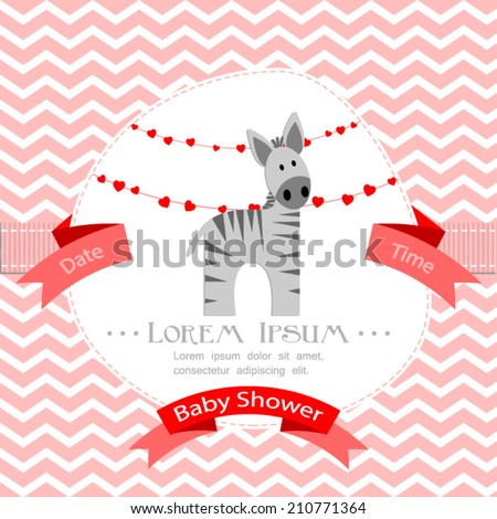 baby shower invitation for girl.Pink chevron background with zebra.Vector eps10,illustration. - stock vector