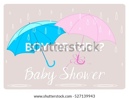Baby Shower Invitation Gender Reveal Card With Two Umbrellas Pink And Blue  Under Raindrops