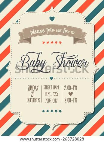 baby shower invitation in retro style, vector format - stock vector