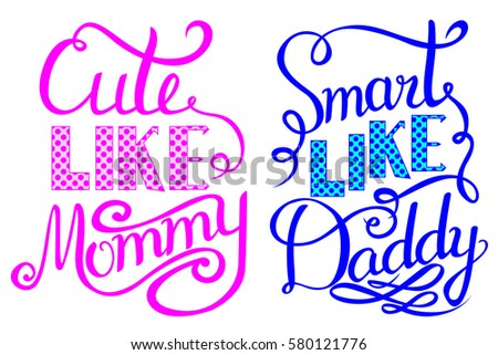 Baby shower invitation lettering cute like stock vector 580121776 baby shower invitation lettering cute like mommy smart like daddy filmwisefo
