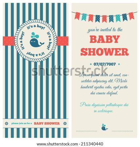 Baby shower invitation. Nautical style. - stock vector