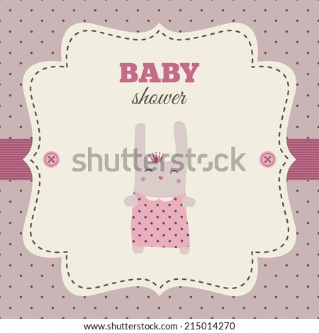 Baby shower invitation. Pink and cream colors. Vintage frame with illustration of a sweet bunny princess on a polka dot background. - stock vector