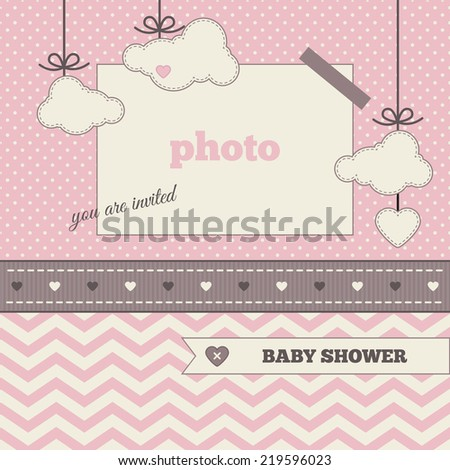 Baby Shower Invitation Template Brown Pink Stock Vector Hd Royalty