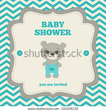 Baby shower invitation, template. Gray, blue and cream colors. Illustration of little teddy bear. Vintage frame on chevron background. - stock vector