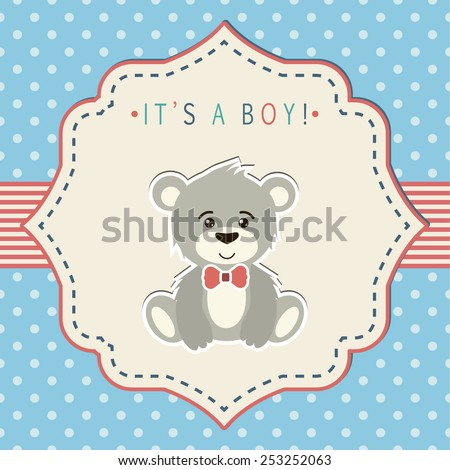 Baby shower invitation, template. Illustration of little teddy bear.