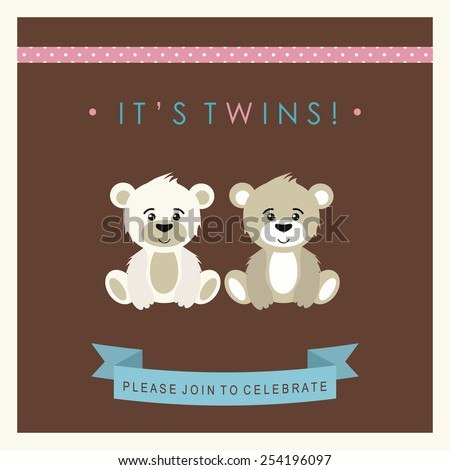 Baby shower invitation, template. Illustration of twins bears