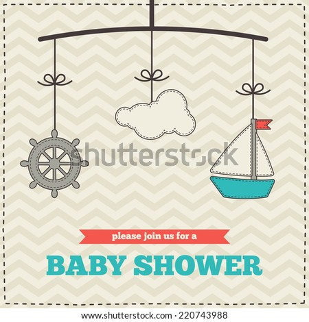 baby shower invitation template marine design red blue and cream