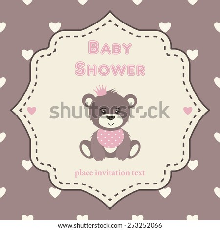 Baby Shower Invitation Template Pink Brown Stock Vector (2018 ...