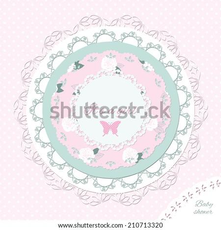 Baby shower invitation template. Scrapbook design elements. - stock vector