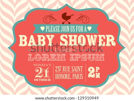 Baby shower invitation template vectorillustration stock vector baby shower invitation template vectorillustration stopboris Choice Image