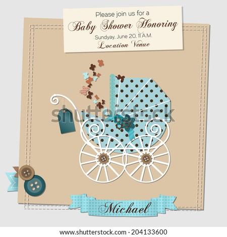 Baby shower invitation template vector illustration - stock vector