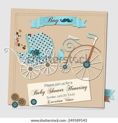Baby shower invitation template vector illustration stock vector baby shower invitation template vector illustration with a vintage stroller and a bicycle filmwisefo