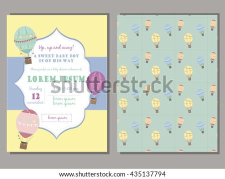 Baby Shower Invitation Template Vector Set With Vintage Hot Air Balloons.  Retro Frame. For