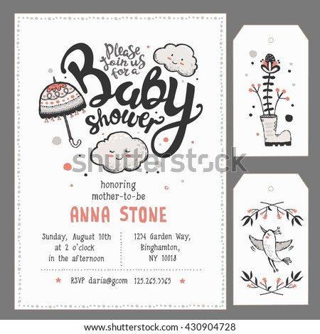 Baby Shower Invitation Template with hand lettering, cute clouds and umbrella
