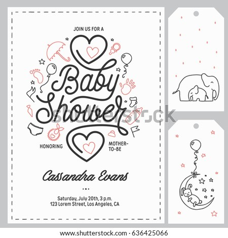 Baby Shower Invitation Templates Set Floral Stock Vector 636425066