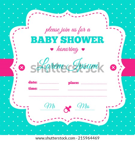 Baby shower invitation white hot pink stock photo photo vector baby shower invitation white hot pink and azure colors vintage frame with soother filmwisefo