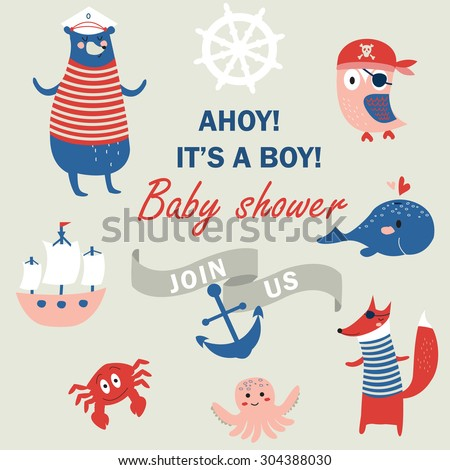 Baby shower invitation with cute animals in nautical style - stock vector