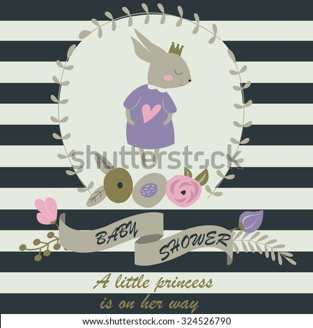 Baby shower invitation with cute hand drawn bunny and floral wreath. A little princess is on her way. Girl baby shower invitation - stock vector