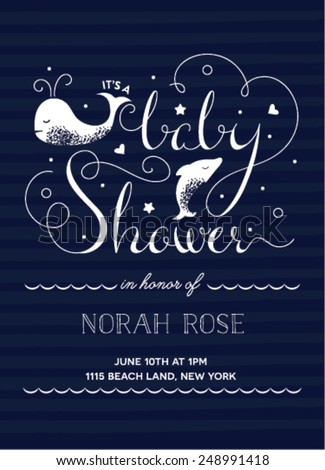 Baby Shower Invitation with Hand-Drawn Texts featuring a nautical theme - stock vector