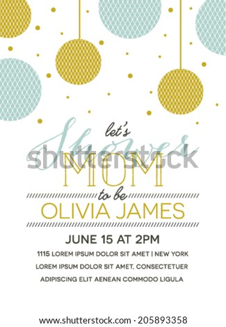 Baby Shower Invitation with Lantern Illustration - stock vector